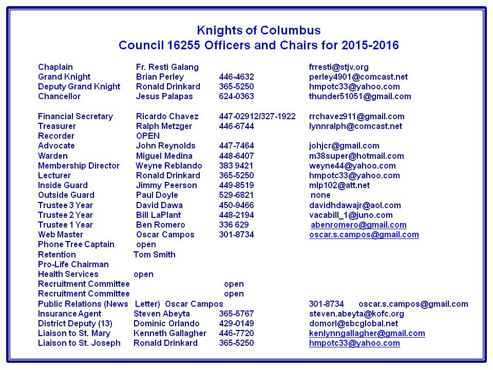 Knights Of Columbus Council 16255